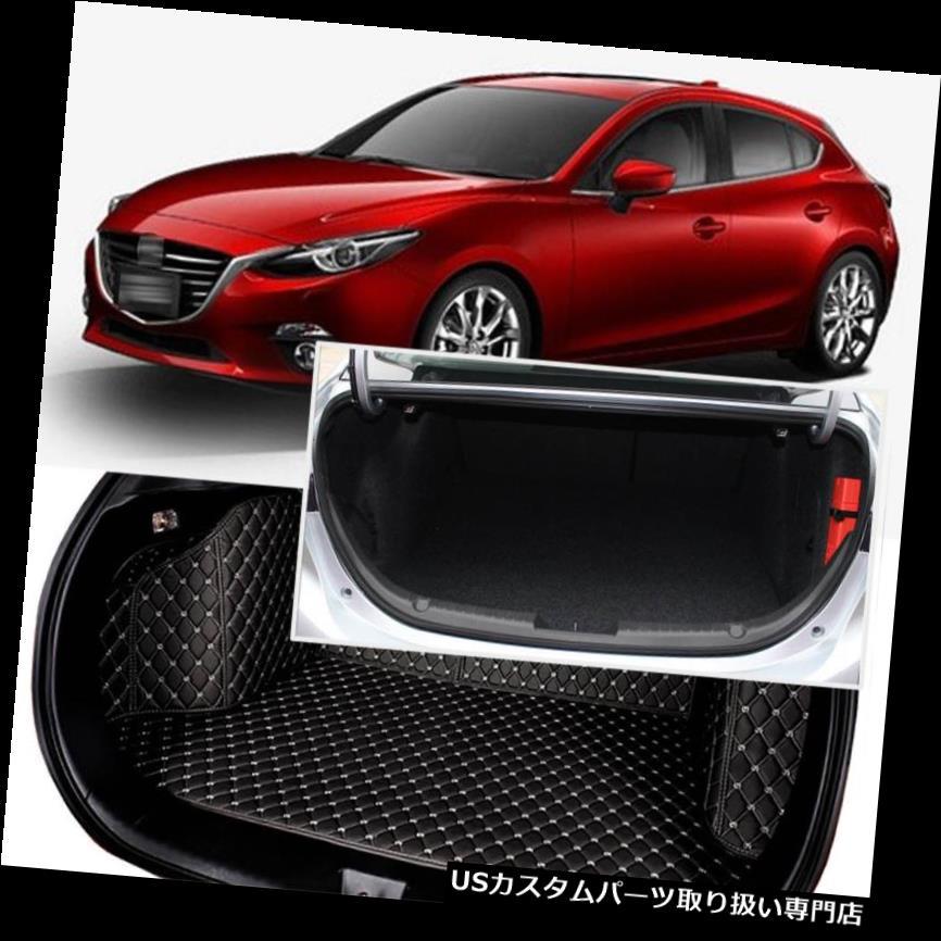 リアーカーゴカバー Mazda 3 Axela 2014-17用ブラックリアトランクカバーカーゴマットシート&フロアプロテクター Black Rear Trunk Cover Cargo Mats Seat&Floor Protector For Mazda 3 Axela 2014-17