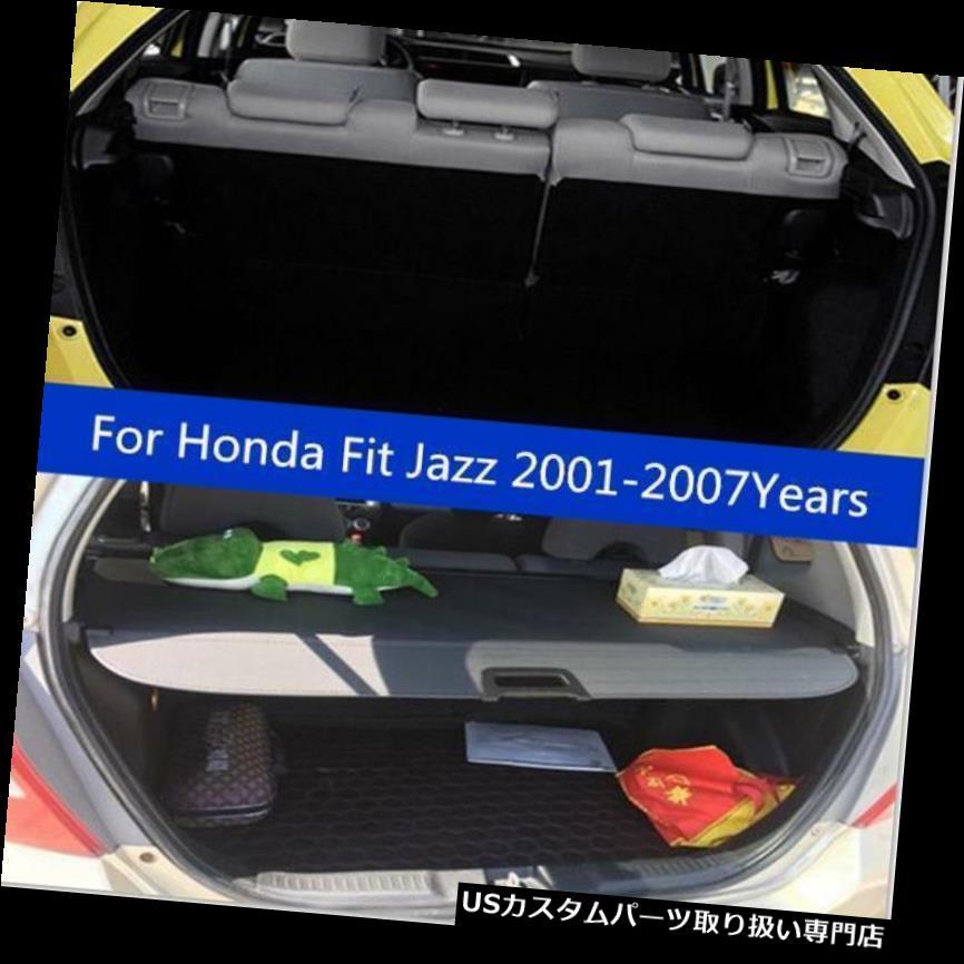 リアーカーゴカバー ホンダフィットジャズ2001-2007のための黒い後部トランクセキュリティ貨物カバーシェードセット Black Rear Trunk Security Cargo Cover Shade Set for Honda Fit Jazz 2001-2007