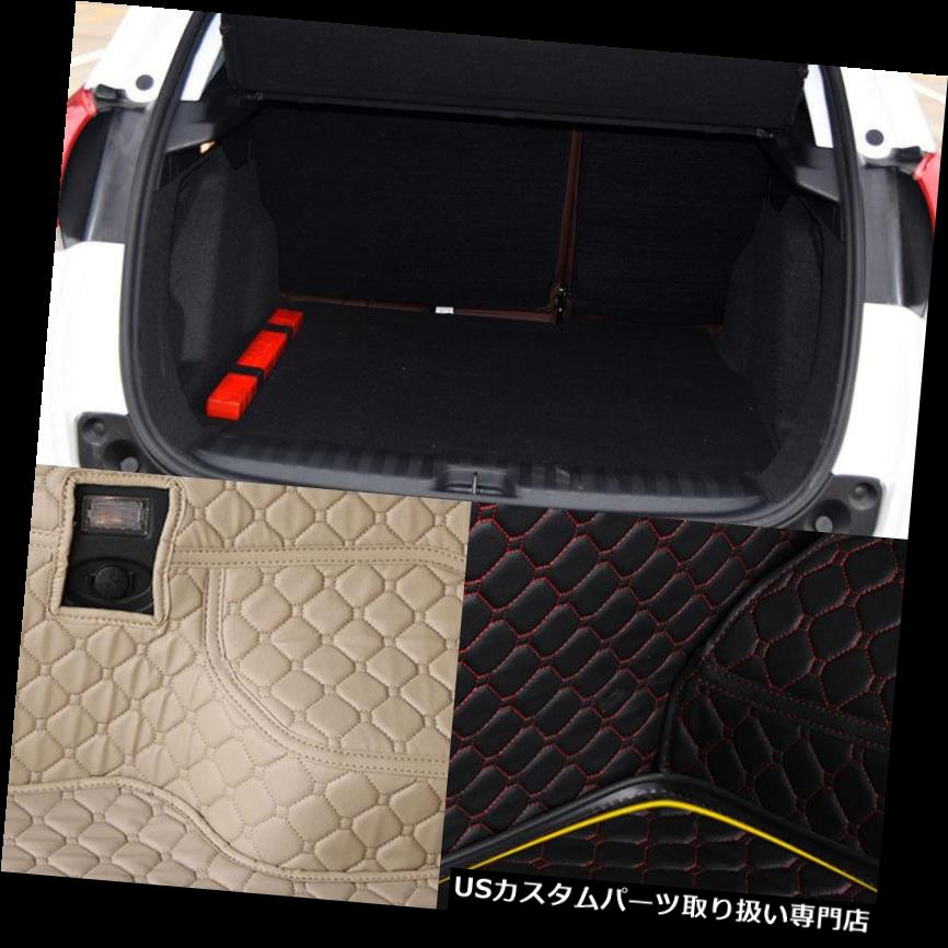 リアーカーゴカバー プジョー2008年用PUレザーリアトランク貨物ライナープロテクターマットシートバックカバー PU Leather Rear Trunk Cargo Liner Protector Mat Seat Back Cover For Peugeot 2008