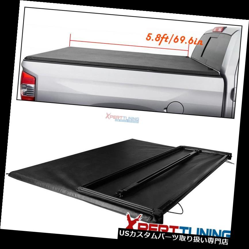 リアーカーゴカバー 04-07シボレーシルバラードGMCシエラ5.8フィート/ 68インチベッド三つ折りソフトトノーカバーに適合 Fits 04-07 Chevy Silverado GMC Sierra 5.8ft/68in Bed Tri-Fold Soft Tonneau Cover