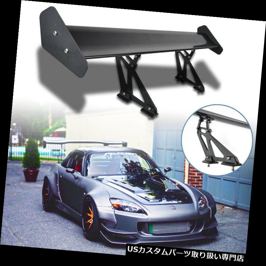 GTウィング ユニバーサルカーアルミ調節可能なGTリアトランクウイングレーシングスポイラーブラック新しい Universal Car Aluminum Adjustable GT Rear Trunk Wing Racing Spoiler Black New