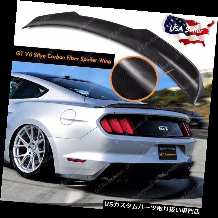 GTウィング 2015 - 2017フォードマスタングリアトランクリッドスポイラーウイングGTスタイルリアルカーボンファイバー 2015 - 2017 Ford Mustang Rear Trunk Lid Spoiler Wing GT Style Real Carbon Fiber