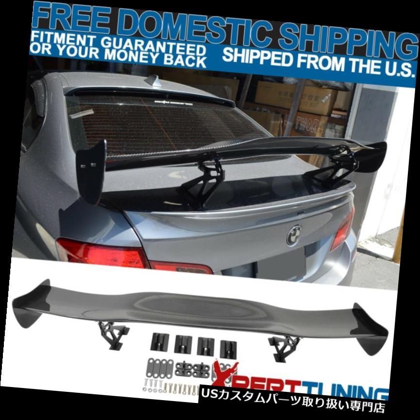 GTウィング 調節可能なJDM GTスタイル57インチブラックカーボンファイバーCFリアウイングトランクスポイラー Adjustable JDM GT Style 57in Black Carbon Fiber CF Rear Wing Trunk Spoiler