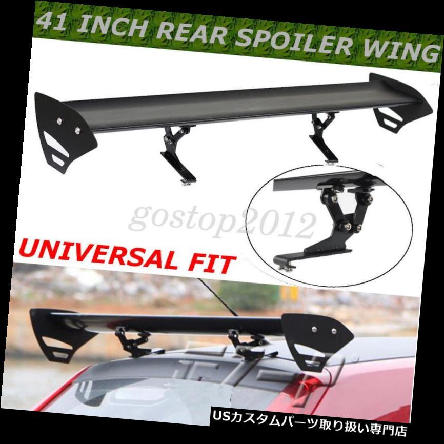 GTウィング 黒い普遍的なハッチアルミニウム調節可能な単一のデッキGTの後部トランクの翼のスポイラー Black Universal Hatch Aluminum Adjustable Single Deck GT Rear Trunk Wing Spoiler