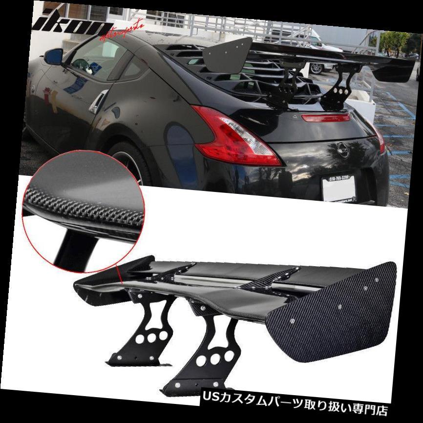 GTウィング 58.5 In.Spoiler JDM GTレーシングリアルカーボンファイバーライトダブルデッキトランクウイングCF 58.5 In.Spoiler JDM GT Racing Real Carbon Fiber Light Double Deck Trunk Wing CF