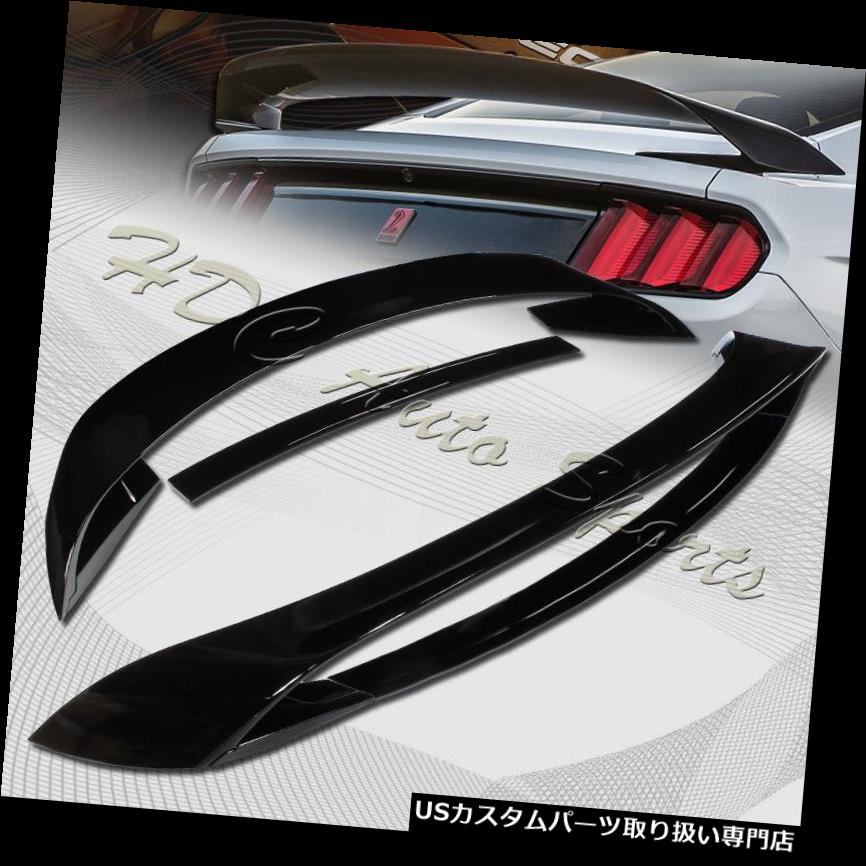 GTウィング 2015-2018フォードマスタングGT350Rスタイル塗装ブラックリアトランクスポイラーウイング用 For 2015-2018 Ford Mustang GT350R Style Painted Black Rear Trunk Spoiler Wing