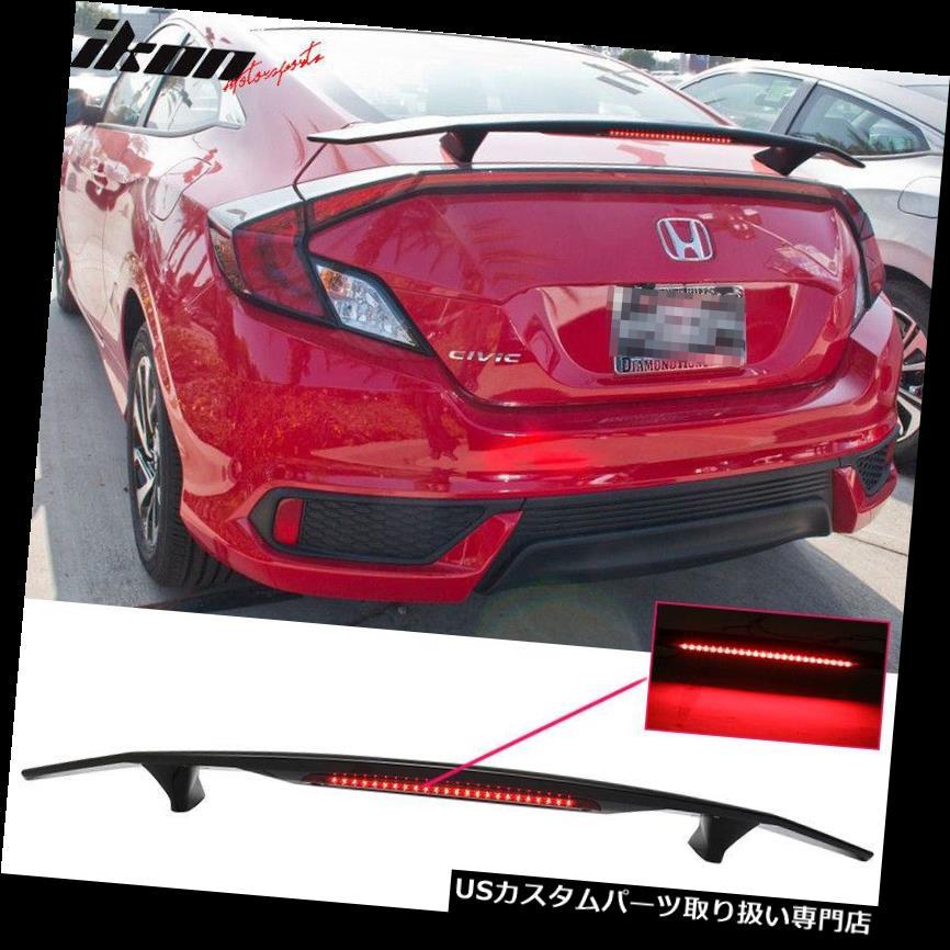 GTウィング ユニバーサルフィット光沢のあるブラックトランクスポイラーウイング 3RDブレーキLEDライト - ABS Universal Fit Glossy Black Trunk Spoiler Wing & 3RD Brake LED Light - ABS