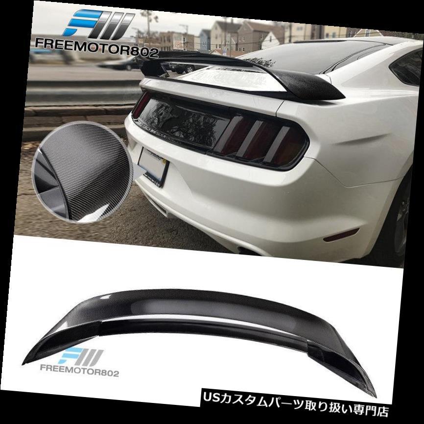 GTウィング 15-18マスタングGT350Rスタイルリアトランクスポイラーリップカーボンファイバー - CFにフィット Fits 15-18 Mustang GT350R Style Rear Trunk Spoiler Lip Carbon Fiber - CF