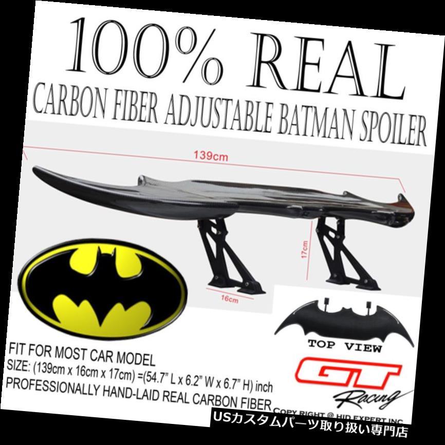 GTウィング LEDストップライトF6付きリアルカーボンファイバーバットマンスタイルリアトランクスポイラーウイング Real Carbon Fiber Batman Style Rear Trunk Spoiler Wing with LED Stop Light F6