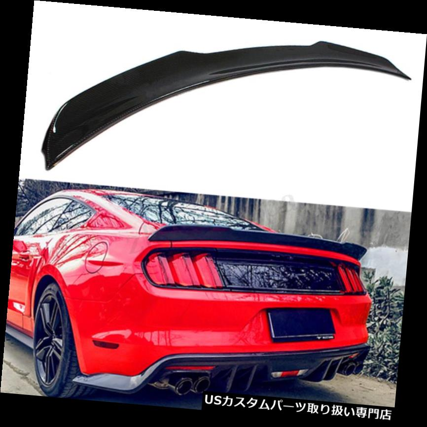 GTウィング フォードマスタングGT 2015-2017のHスタイルリアルカーボンファイバーリアトランクスポイラーウイング H Style Real Carbon Fiber Rear Trunk Spoiler Wing For Ford Mustang GT 2015-2017