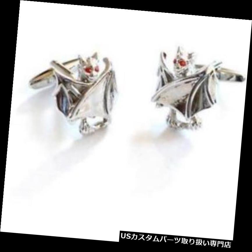 GTウィング 赤い水晶の目で折られたウィングバットのカフスボタン Folded Wing Bat Cufflinks with Red Crystal Eyes
