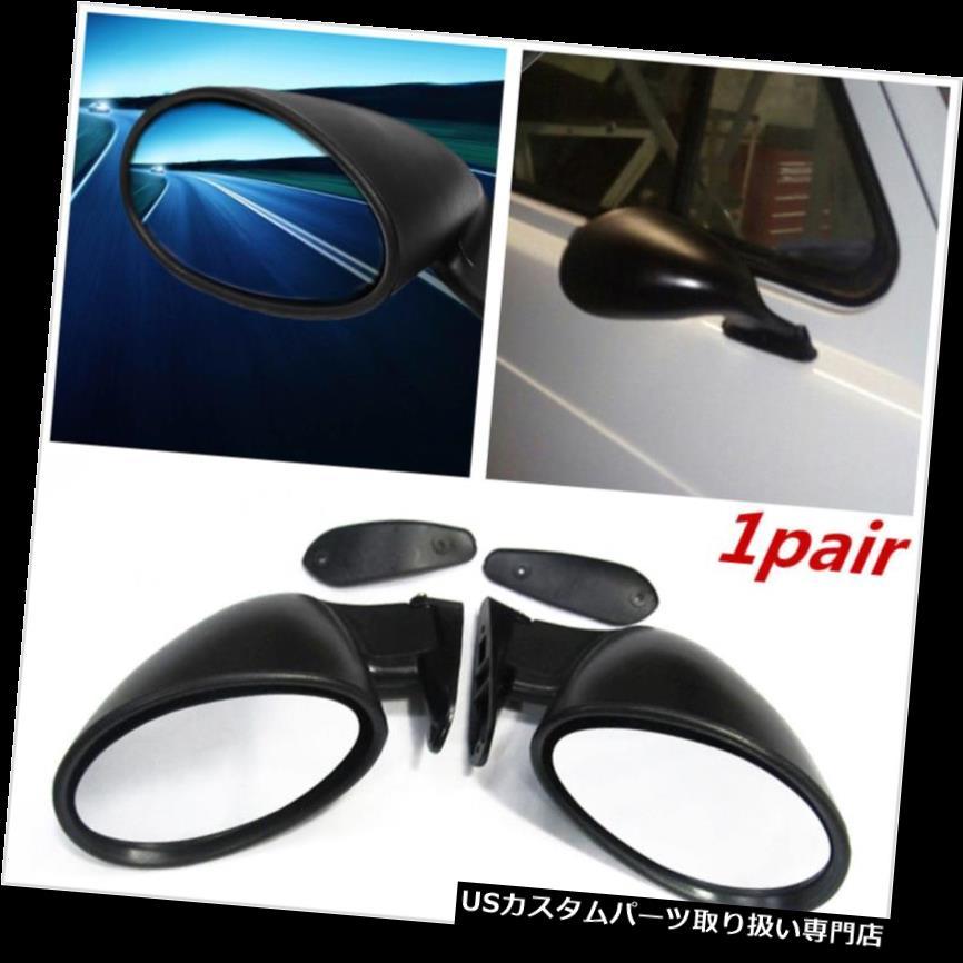GTウィング ペアブラックユニバーサルクラシックスタイル車のドアウイングサイドビューミラー左+右セット Pair Black Universal Classic Style Car Door Wing Side View Mirror Left+Right Set