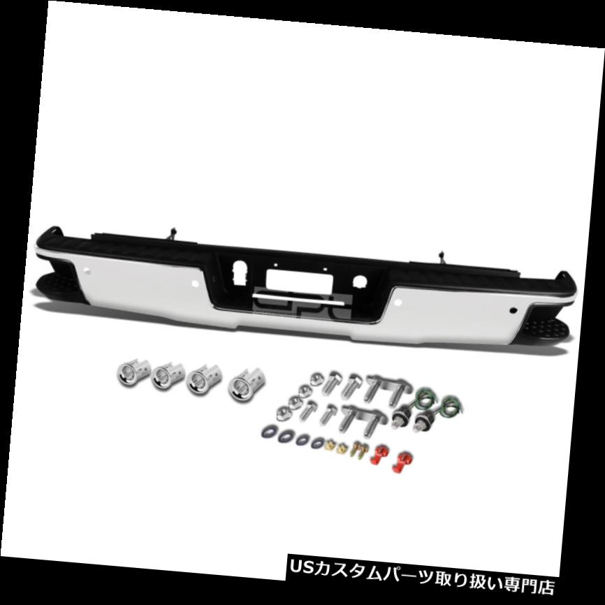 リアステップバンパー 14-17 Silverado / Sier  raクロームリアバンパー(ステップパッド付き)+パーキングセンサーホール Fit 14-17 Silverado/Sierra Chrome Rear Bumper With Step Pad+Parking Sensor Holes