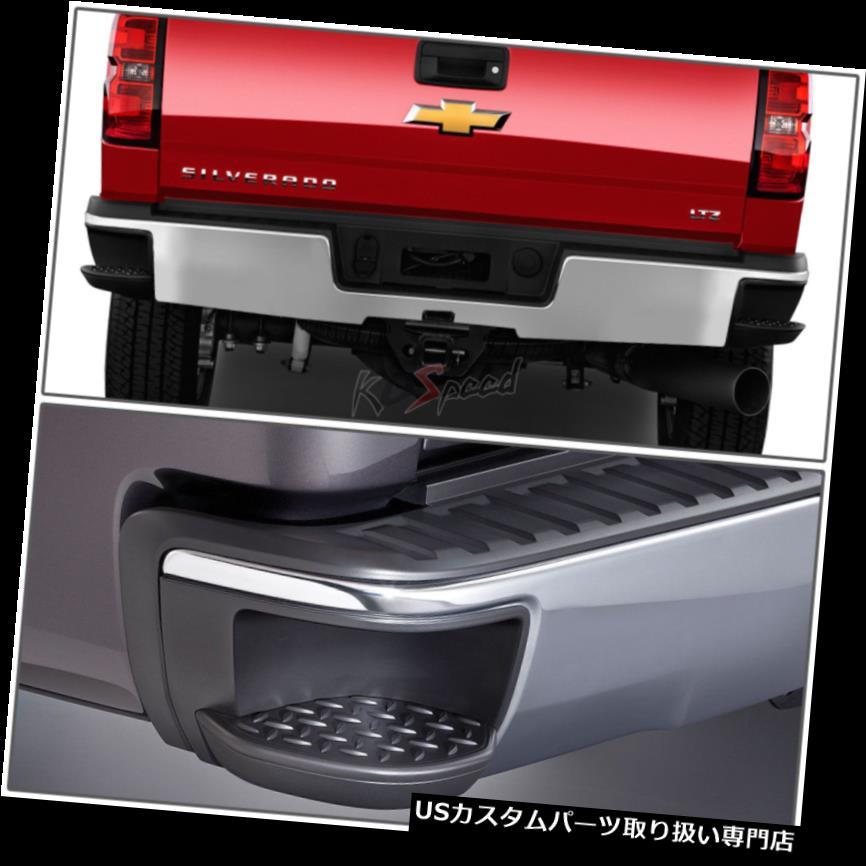 リアステップバンパー 14-17シボレーシルバラード/ GMCシエラピックアップ用サイドステップパッド付きクロムリアバンパー Chrome Rear Bumper w/Side Step Pad for 14-17 Chevy Silverado/GMC Sierra Pickup