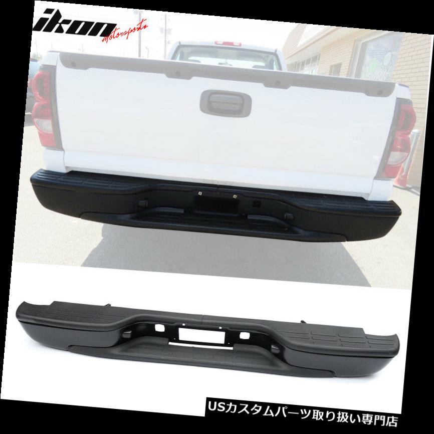 リアステップバンパー 99-06シボレーシルバラードGMCシエラリアステップバンパーSSブラックにフィット Fits 99-06 Chevy Silverado GMC Sierra Rear Step Bumper SS Black