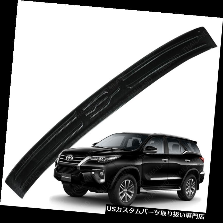 リアステップバンパー トヨタフォーチュナーSUV 16 17用リアテールゲートバンパーステップカバーブラックカーボンフィルム Rear Tailgate Bumper Step Cover Black Carbon Film For Toyota Fortuner SUV 16 17