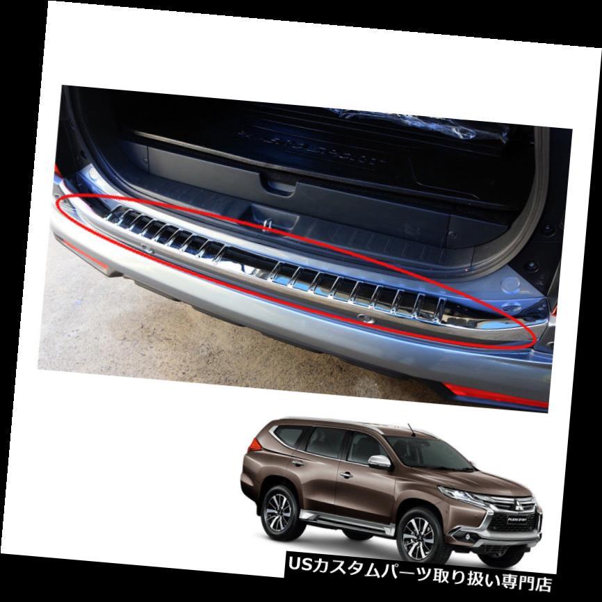 リアステップバンパー 三菱パジェロモンテロスポーツリアテールゲートバンパーステップカバークロームon 2016 + Mitsubishi Pajero Montero Sport Rear Tailgate Bumper Step Cover Chrome on 2016 +