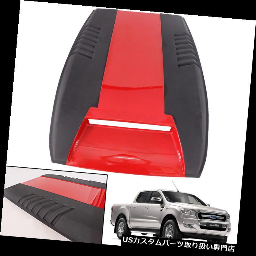 ボンネットフードベントスクープカバー ブラックレッドフードスクープボンネットカバートリムベントフィット2015+フォードレンジャーT6改装 BLACK RED HOOD SCOOP Bonnet Cover Trim Vent Fit 2015+ Ford ranger T6 Facelift