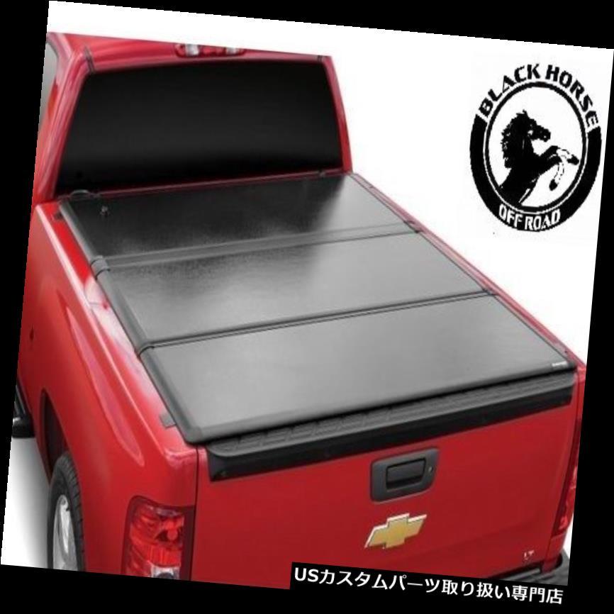 トノーカバー トノカバー ブラックホースフィット16タイタンXD 6.5 'ベッドブラックハードトップソリッド三つ折りトノーカバー Black Horse Fit 16 Titan XD 6.5' Bed Black Hard Top Solid Tri-Fold Tonneau Cover