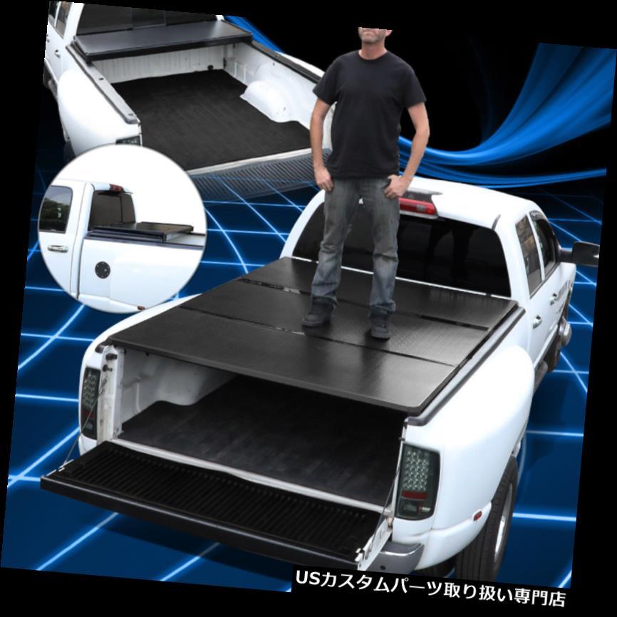 トノーカバー トノカバー 09-18ラムトラック用5.8フィートショートベッドアルミハードソリッド三つ折りトノーカバー For 09-18 Ram Truck 5.8Ft Short Bed Aluminum Hard Solid Tri-Fold Tonneau Cover
