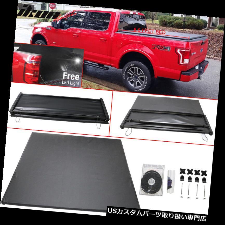 トノーカバー トノカバー 15-17フォードF-150にフィット6.5フィートベッド三つ折りソフトトノーカバーブラック Fits 15-17 Ford F-150 6.5 Feet Bed Tri-Fold Soft Tonneau Cover Black