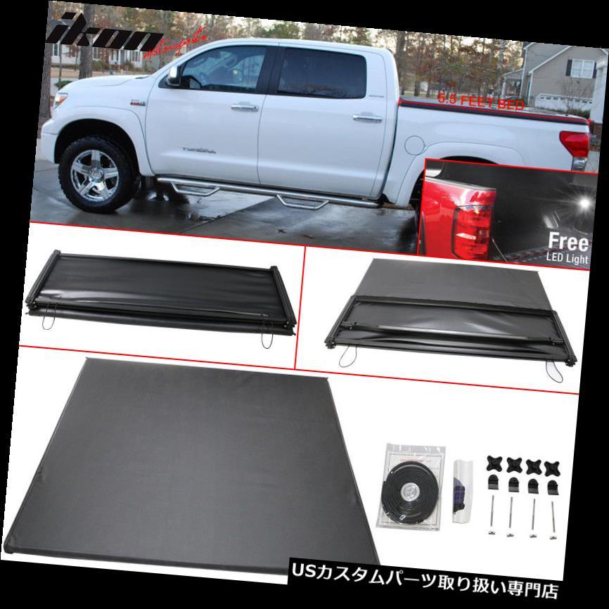 トノーカバー トノカバー 14-17トヨタツンドラ5.5フィートベッド三つ折りソフトトノーカバーブラックにフィット Fits 14-17 Toyota Tundra 5.5 Feet Bed Tri-Fold Soft Tonneau Cover Black