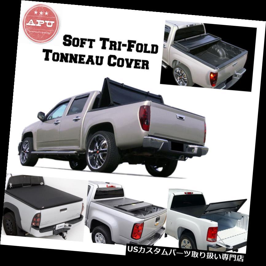 トノーカバー トノカバー APU 15-19 GMC CANYON 6フィートベッドブラックソフト三つ折りトノーカバー APU 15-19 GMC CANYON 6ft Bed Black Soft Tri-Fold Tonneau Cover