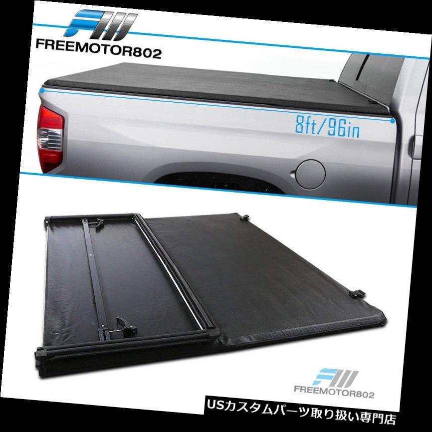 トノーカバー トノカバー 14-19トヨタツンドラ8フィートベッドブラックビニールソフト三つ折りトノーカバーにフィット Fits 14-19 Toyota Tundra 8ft Bed Black Vinyl Soft Tri-fold Tonneau Cover
