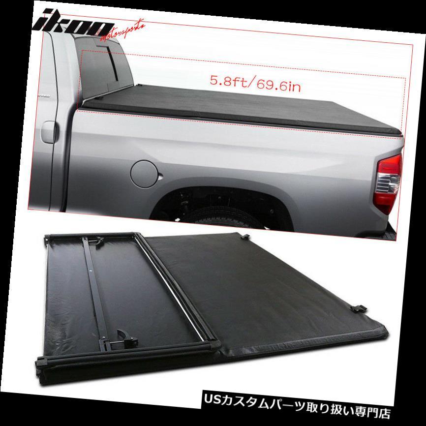 トノーカバー トノカバー 07-13 Silverado GMC Sierra 5.8フィート/ 69.6インチベッドブラック三つ折りトノーカバーにフィット Fits 07-13 Silverado GMC Sierra 5.8ft/69.6in Bed Black Tri-Fold Tonneau Cover