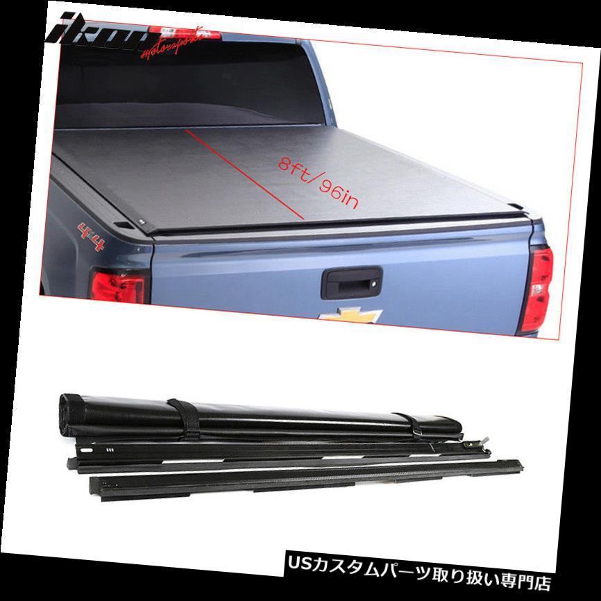 トノーカバー トノカバー フィット02-18ダッジラム1500 2500 3500 8フィート/ 96インチベッドブラックロールアップトノーカバー Fits 02-18 Dodge Ram 1500 2500 3500 8ft/96in Bed Black Roll Up Tonneau Cover