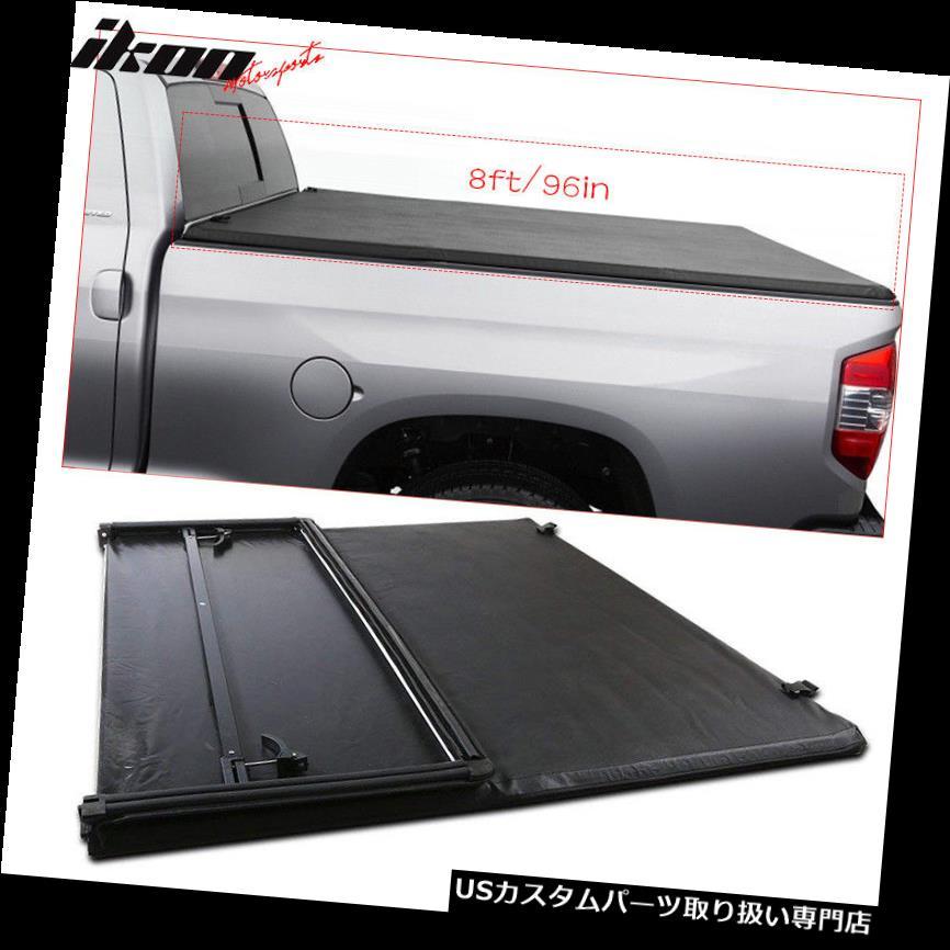 トノーカバー トノカバー 07-13シボレーシルバラードGMCシエラ8フィート/ 96インチベッドブラック三つ折りトノーカバー Fits 07-13 Chevy Silverado GMC Sierra 8ft/96in Bed Black Tri-Fold Tonneau Cover