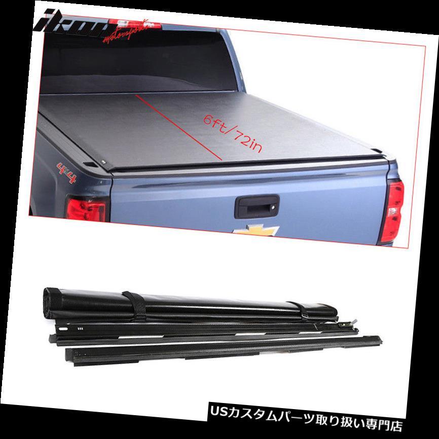 トノーカバー トノカバー 16-19トヨタタコマ6フィート/ 72インチベッドブラックビニールロールアップトノーカバー Fits 16-19 Toyota Tacoma 6ft/72in Bed Black Vinyl Roll Up Tonneau Cover