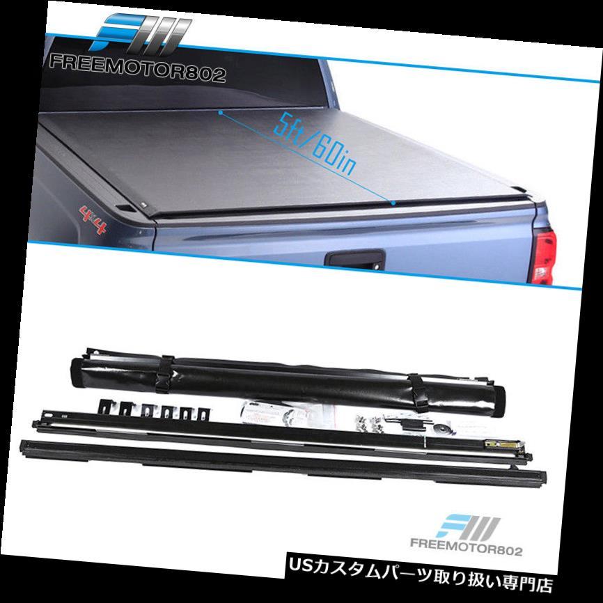 トノーカバー トノカバー 日産フロンティア5フィートベッドブラックロールアップトノー貨物カバー05-19に適合 Fits 05-19 Nissan Frontier 5ft Bed Black Roll Up Tonneau Cargo Cover