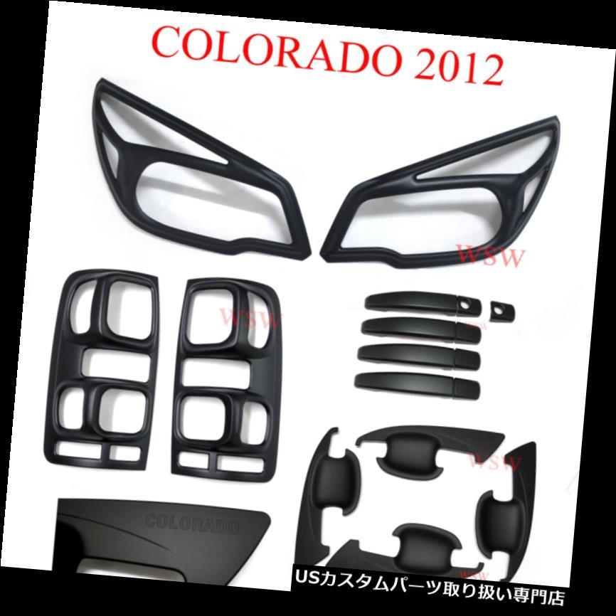 ヘッドライトカバー マットブラックヘッドテールライトドアハンドルカバーHolden Colorado RG Z71 LTZ 12 - 15 Matte Black Head Tail Light Door Handle Cover Holden Colorado RG Z71 LTZ 12 - 15