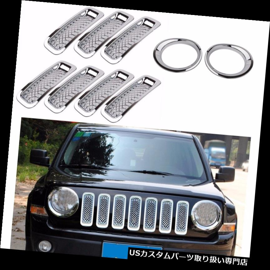 Front Grille Mesh Trim+Angry Bird Headlight Cover-Black for Jeep Patriot 2011-17