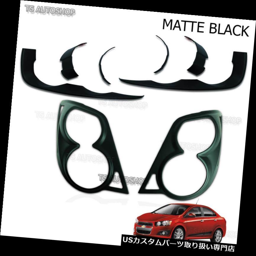 ヘッドライトカバー マットブラックヘッドテールランプライトカバーフィットシボレーアベオソニック4-5dr 2012 2015 Matte Black Head Tail Lamp Lights Cover Fit Chevrolet Aveo Sonic 4-5dr 2012 2015
