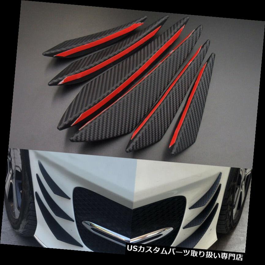 USカナード 6倍ユニバーサルカーボンファイバーカーオートSUVフロントバンパーフィンスポイラー缶詰 6x Universal Carbon Fiber Car Auto SUV Front Bumper Fins Spoiler Canards Refit