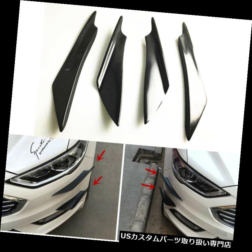 4x Car Black ABS Front Bumper Canards Splitter Fins Body Spoiler Universal New