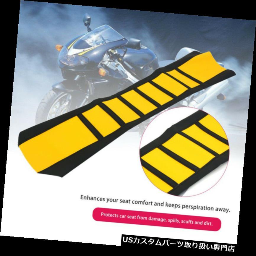 トライク カバー 丈夫なステッチラバーレザーグリッパーソフトオートバイのシートカバーブラック& A 黄 Durable Stitched Rubber Leather Gripper Soft Motorcycle Seat Cover Black& Yellow