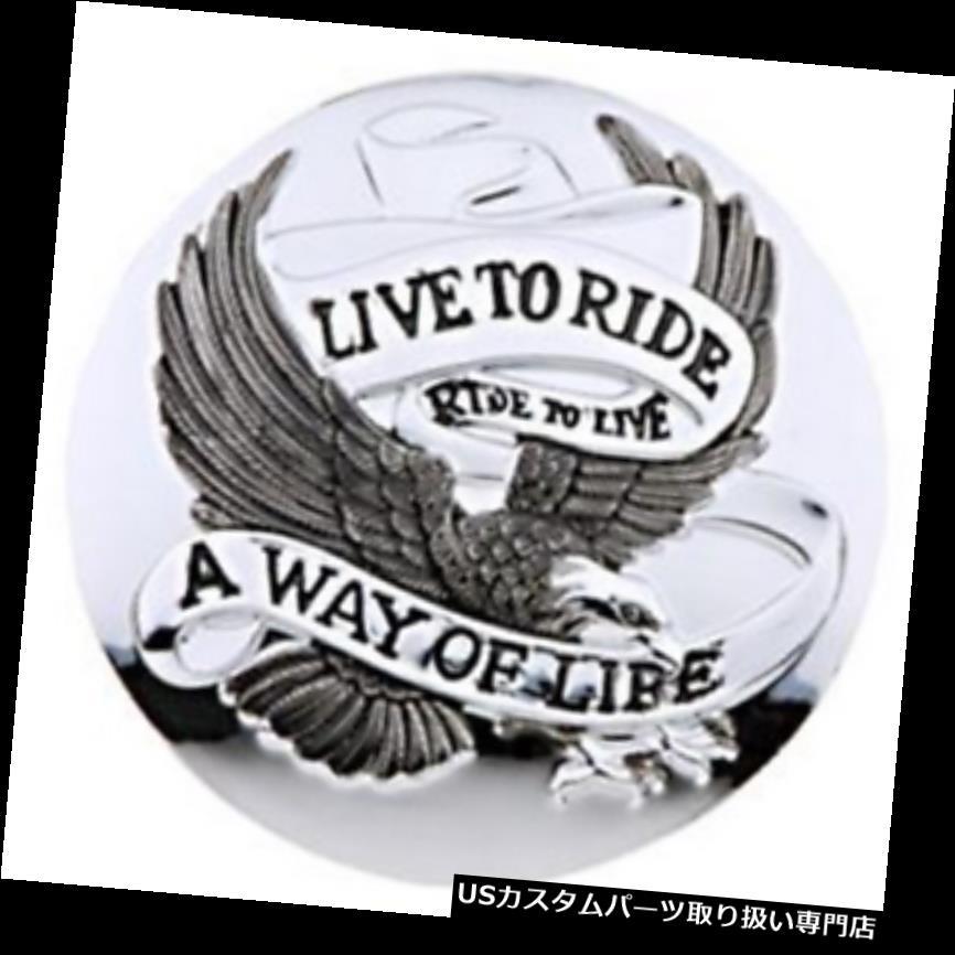 トライク カバー Chromeのガスキャップカバーに乗ってライブ - オートバイ/トライ ke / Harley Live To Ride Chrome Gas Cap Cover - Motorcycle/Trike/Harley