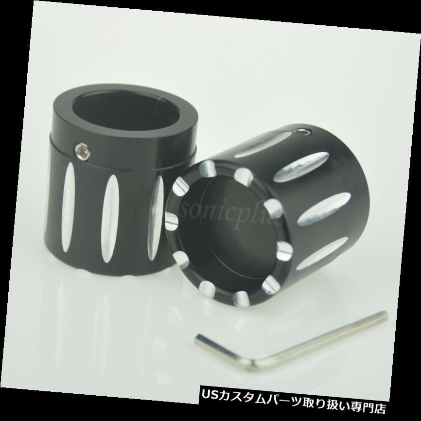 トライク カバー 2本ブラックフロントアクスルナットカバーキャップハーレーソフテイルダイナVロッドツーリングトライク 2 pcs Black Front Axle Nut Cover Cap For Harley Softail Dyna V-Rod Touring Trike