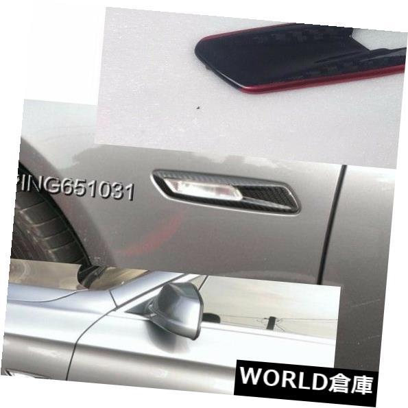 フェンダー BMW F11 F10サイドフロントフェンダーターンシグナルライトトリムカバー用カーボン+レッド cabon + RED FOR BMW F11 F10 Side Front Fender Turn Signal Light Trim Cover