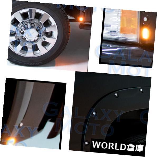 フェンダー 07-13シボレーシルバラードグロスブラックフロント+リアフェンダーフレア+ 8x LEDサイドマーカー 07-13 Chevy Silverado Gloss Black Front+Rear Fender Flares+8x LED Side Makers