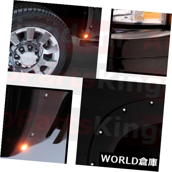 フェンダー 07-13シボレーシルバラードマットブラックフロント+リアポケットフェンダーフレア+ LEDサイドメーカー 07-13 Chevy Silverado Matte Black Front+Rear Pocket Fender Flares+LED Side Maker