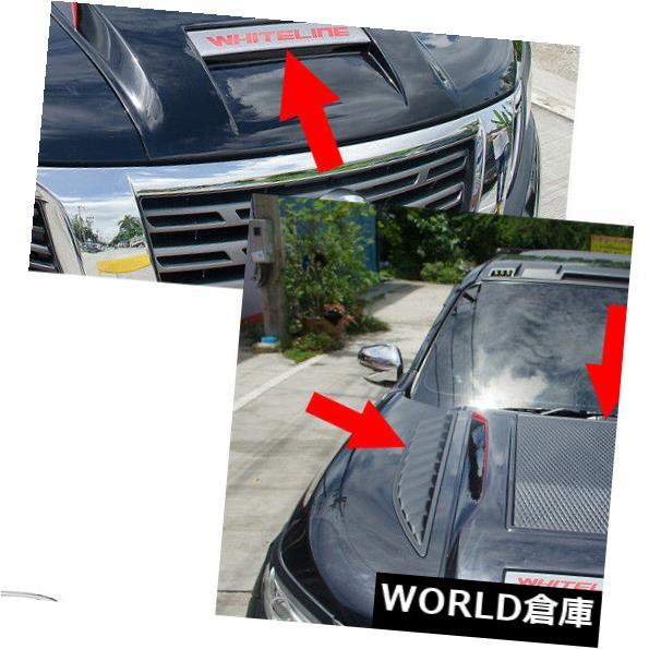USフードベントトリム ボンネットフードスクープベントカバーV3トリムブラックレッドフィット日産NP300ナバラ14 - 17 Bonnet Hood Scoop Vent Cover V3 Trim Black Red Fits Nissan NP300 Navara 14 - 17