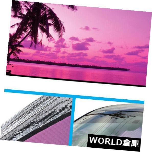 USサンバイザー 車SUVのトラックのフロントガラスの日よけのための紫色の熱帯の島の日没の自動日よけ Purple Tropic Island Sunset Auto Sun Shade for Car SUV Truck Windshield Sunshade
