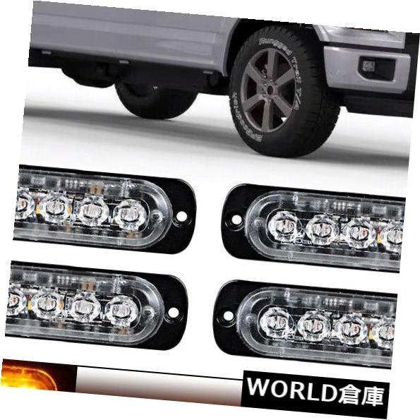 LEDライトバー 4×アンバー6 LED車トラック緊急ビーコン警告危険フラッシュストロボライトバー 4 X Amber 6 LED Car Truck Emergency Beacon Warning Hazard Flash Strobe Light Bar