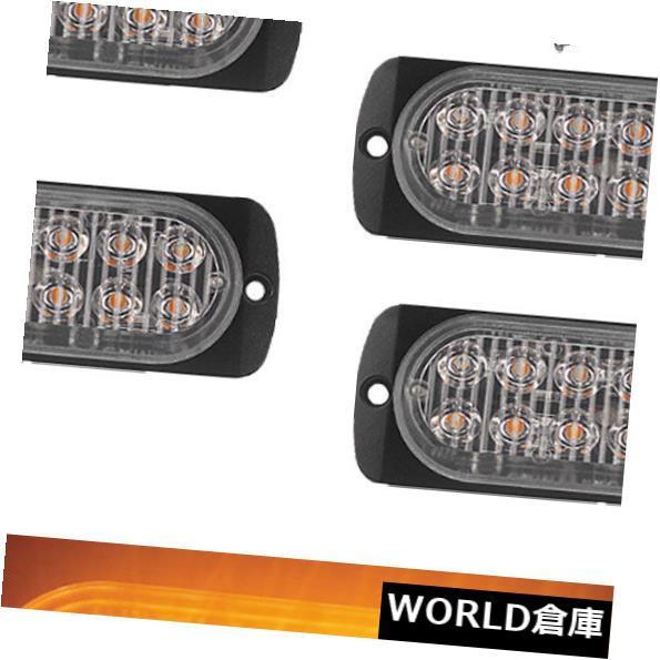 LEDライトバー 4PCS琥珀色12 LED 36Wバー車トラックストロボフラッシュ緊急警報灯12V-24V 4PCS Amber 12 LED 36W Bar Car Truck Strobe Flash Emergency Warning Light 12V-24V