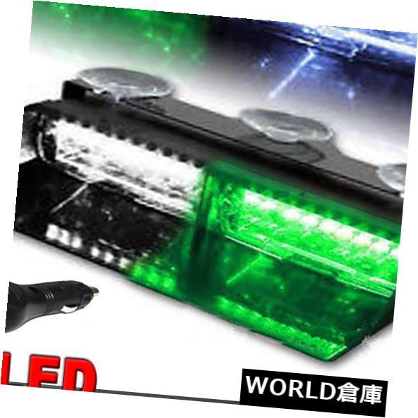 LEDライトバー 16 LEDグリーンホワイトカー警告ランプストロボダッシュフラッシュ緊急ライトバー18W 16 LED Green White Car Warning Lamp Strobe Dash Flash Emergency Light Bar 18W