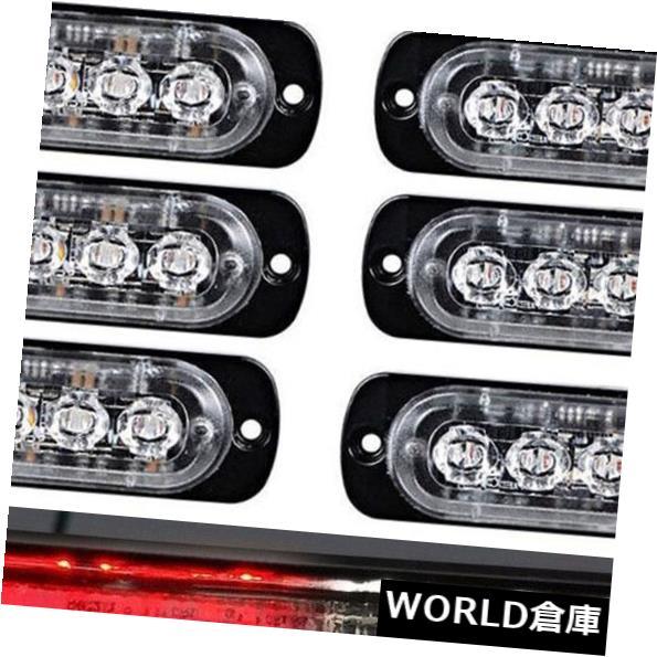 LEDライトバー 12V赤白トラックフラッシュストロボライトバーを警告する10x 6LED車緊急ハザード 10x 6LED Car Emergency Hazard Warning 12V Red White Truck Flash Strobe Light Bar